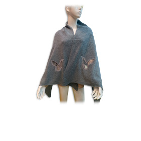 Pure cashmere scarf has butterfly embroidery