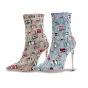 Women's fashion boots with patched denim uppers