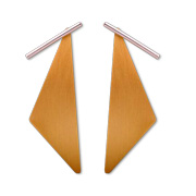 Tube drop earrings with triangular pendants