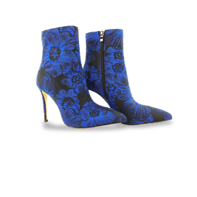 Stiletto boots with floral jacquard uppers