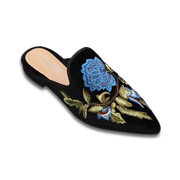 1c80be44adfb Ltd is a pair of handmade women s fashion mules with colorful embroidered  flock uppers. Lining adopts PU leather while outsoles use rubber. The shoes  ...