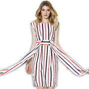 Red-and-black striped pencil dress
