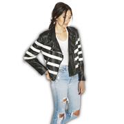 Black PU leather jacket with white stripes