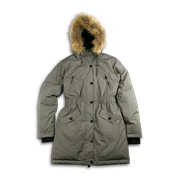 Down jacket trimmed with real or faux fur