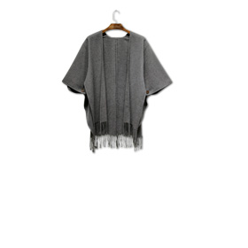 Pure polyester women's poncho with fringes
