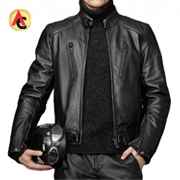 Men's black leather motorcycle jacket with zipper pockets