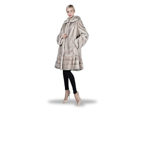 Women's fur coat has square hood