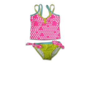 Girl's tankini has double shoulder straps