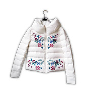Down jacket has floral symmetry embroidery