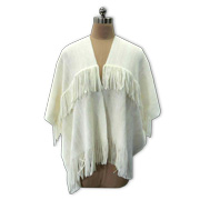 Women's poncho with double-layer fringes