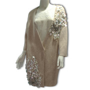 Women's coat trimmed with sequins, beads