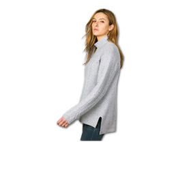 Women's cashmere pullover has slit sides