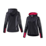 Women's sports jacket adjusts to movement
