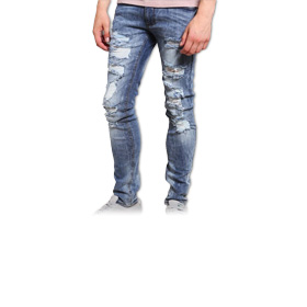 Men's skinny ripped jeans resist fading