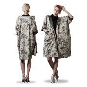 Women's coat has naturally dyed floral print