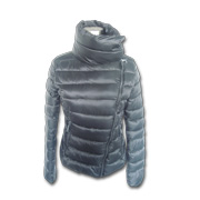Women's down jacket with slanted zipper