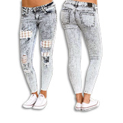Women's ripped jeans with lace embroidery