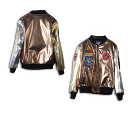 Men's jacket has metallic PU leather shell