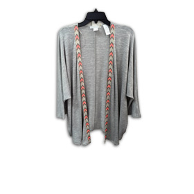 Women's cardigan has embroidered placket