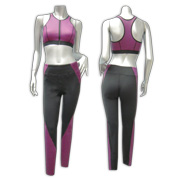 Yoga wear set has fully zipped cropped top
