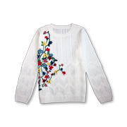 Handembroidered floral women's sweater