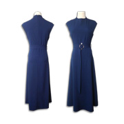 Sheath dress with pearl-trimmed fabric belt
