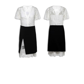 Lace shift dress with camisole lining