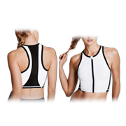 Women's cropped sports top has 4-way stretch