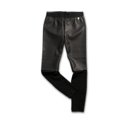 Women's pants in PU leather, jersey fabric
