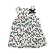Floral girl's sleeveless dress in pure viscose