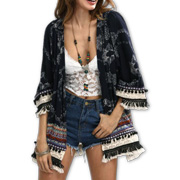 Women's kimono top with multilayer tassels