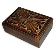 Handcarved wooden gift box from India has antique finish