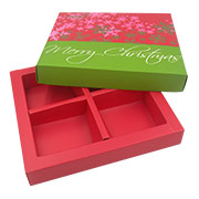Partitioned gift box utilizes coated art paper