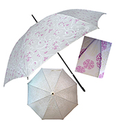 Promotional umbrella shows flowers under the sun
