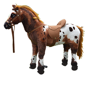Lifelike ride-on toy horse makes sounds