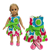 Doll clothes show vibrant floral patterns