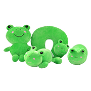 Frog-themed pillow, toy set