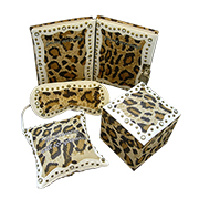 Leopard suede-covered stationery gift set