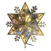 Lighted snowflake-embossed star tree topper