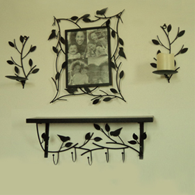 Tree-inspired metal photo frame, mirror set