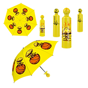 Basketball-topped novelty umbrella with case