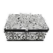 Silver-plated trinket box bedecked with rhinestones