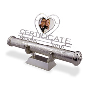 Engraved marriage certificate tube holder