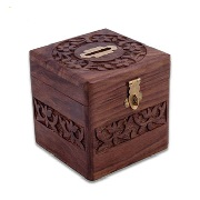 Coin box in solid rosewood