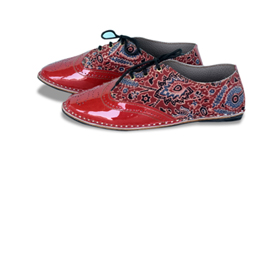 Block-printed shoes with goatskin uppers