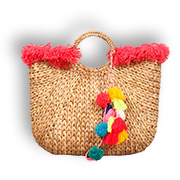 Water hyacinth handbag with natural finish