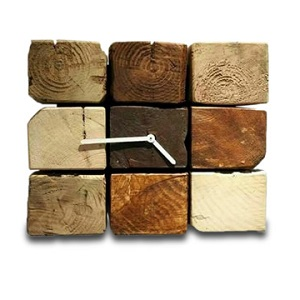 Wall clock made of reclaimed wood