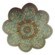 Flower-shaped placemat features glass beads