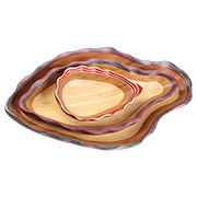 3-piece bamboo fruit tray in fluted fish shape