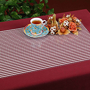 Maroon-and-white pinstriped placemat